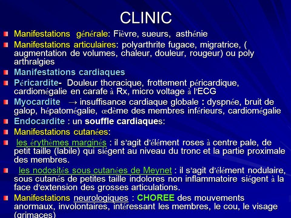 CLINIC Manifestations générale: Fièvre, sueurs, asthénie