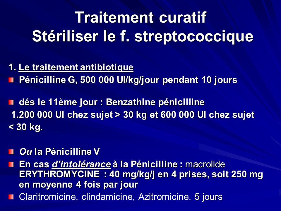 Traitement curatif Stériliser le f. streptococcique