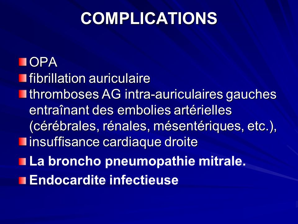 COMPLICATIONS OPA fibrillation auriculaire
