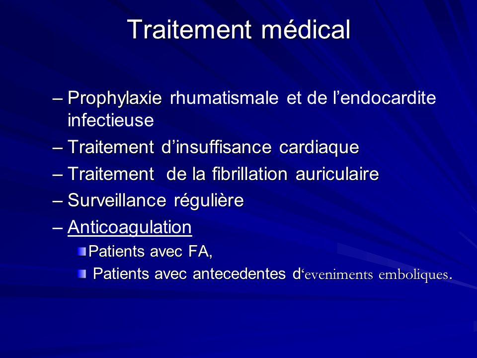 Traitement médical Prophylaxie rhumatismale et de l'endocardite infectieuse. Traitement d'insuffisance cardiaque.