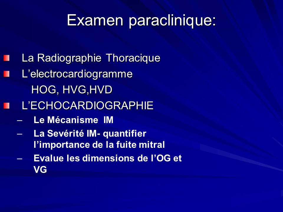 Examen paraclinique: La Radiographie Thoracique L'electrocardiogramme
