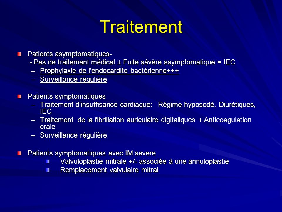 Traitement Patients asymptomatiques-