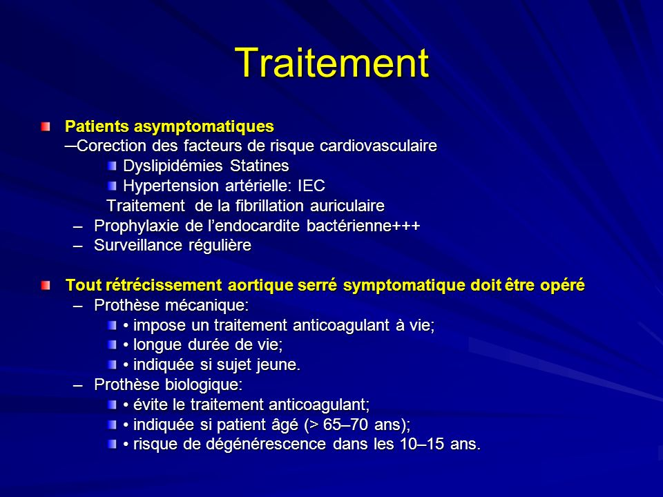 Traitement Patients asymptomatiques