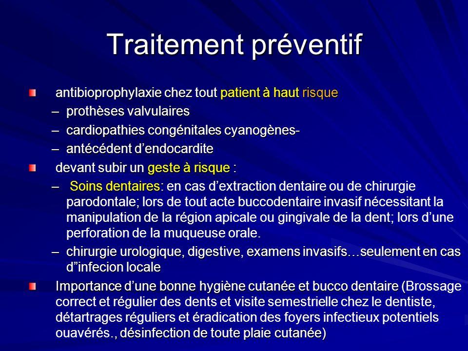 Traitement préventif antibioprophylaxie chez tout patient à haut risque. prothèses valvulaires. cardiopathies congénitales cyanogènes-