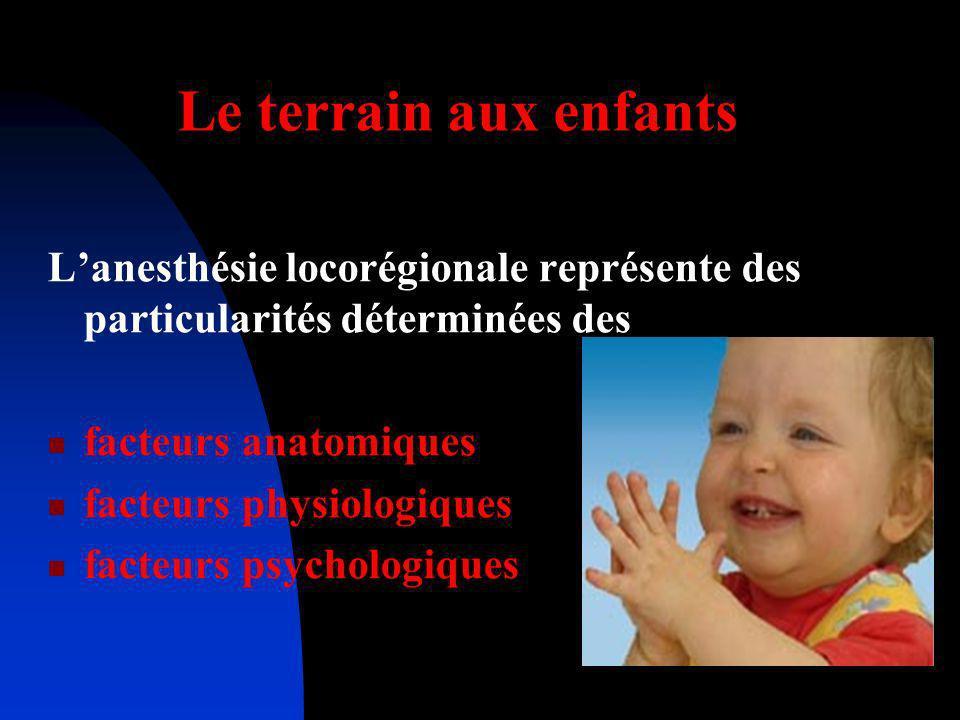 Le terrain aux enfants L'anesthésie locorégionale représente des particularités déterminées des. facteurs anatomiques.