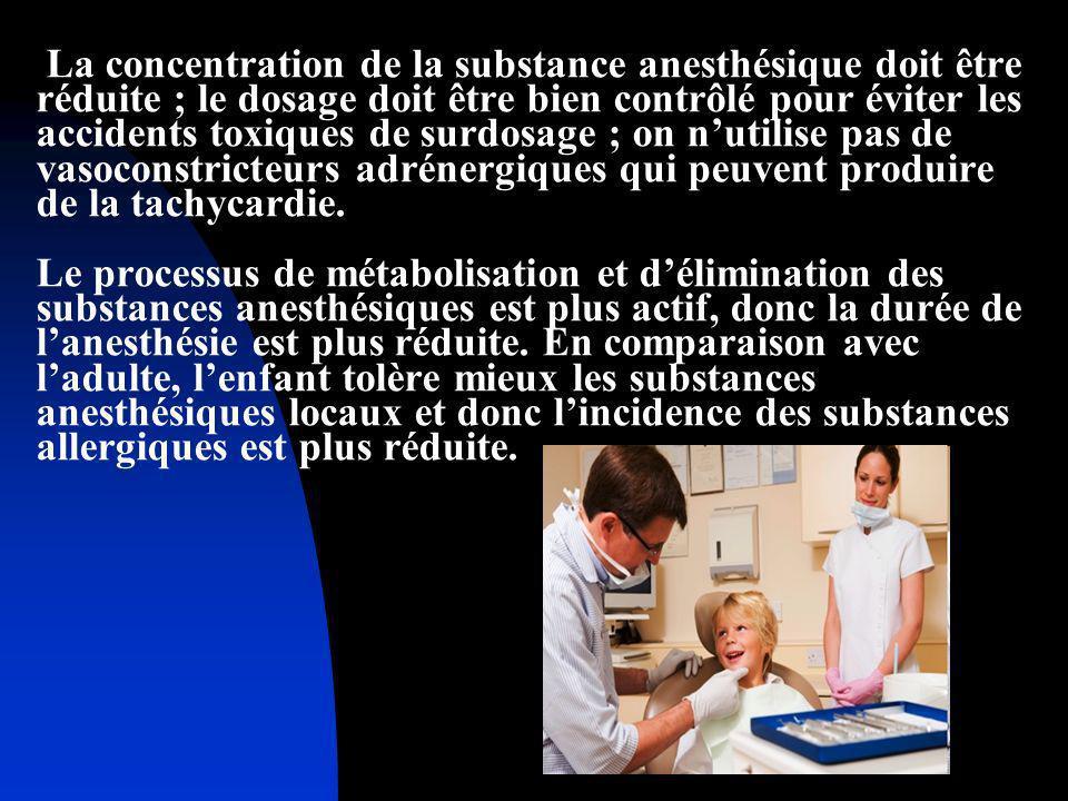 La concentration de la substance anesthésique doit être réduite ; le dosage doit être bien contrôlé pour éviter les accidents toxiques de surdosage ; on n'utilise pas de vasoconstricteurs adrénergiques qui peuvent produire de la tachycardie.