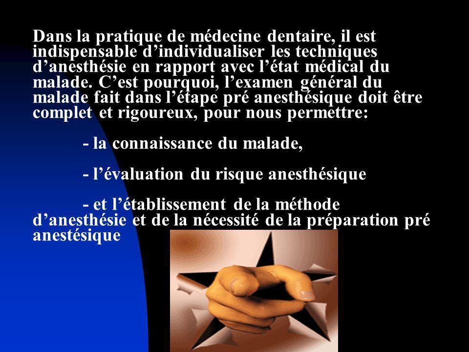 Dans la pratique de médecine dentaire, il est indispensable d'individualiser les techniques d'anesthésie en rapport avec l'état médical du malade.