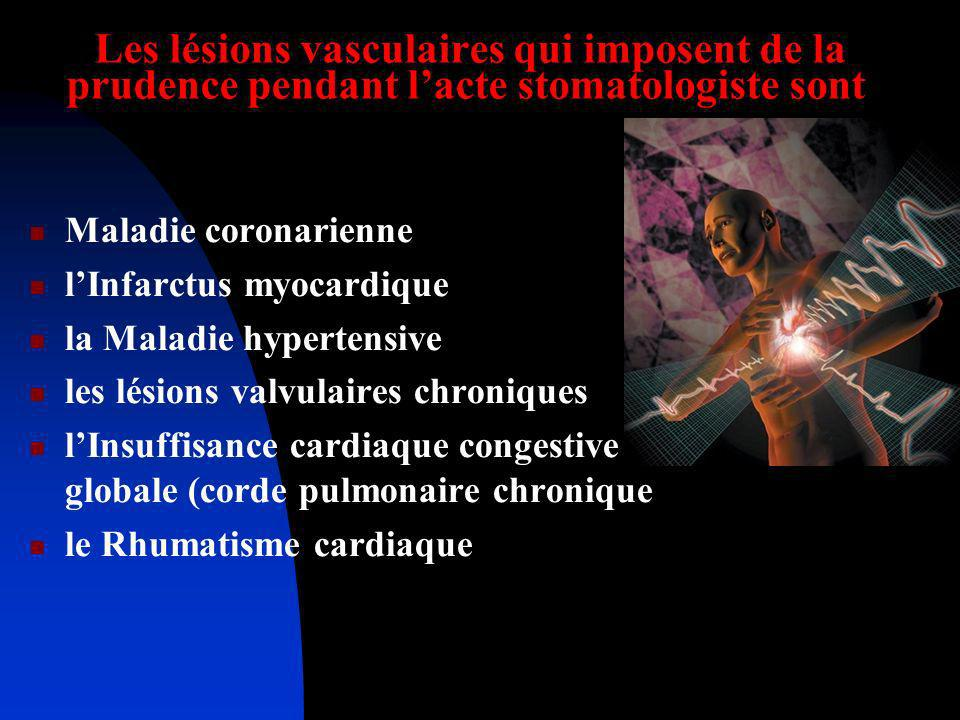 Les lésions vasculaires qui imposent de la prudence pendant l'acte stomatologiste sont