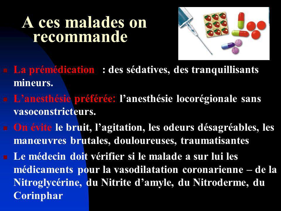 A ces malades on recommande