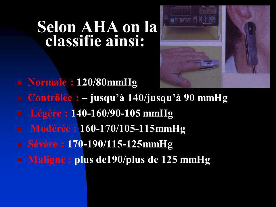 Selon AHA on la classifie ainsi: