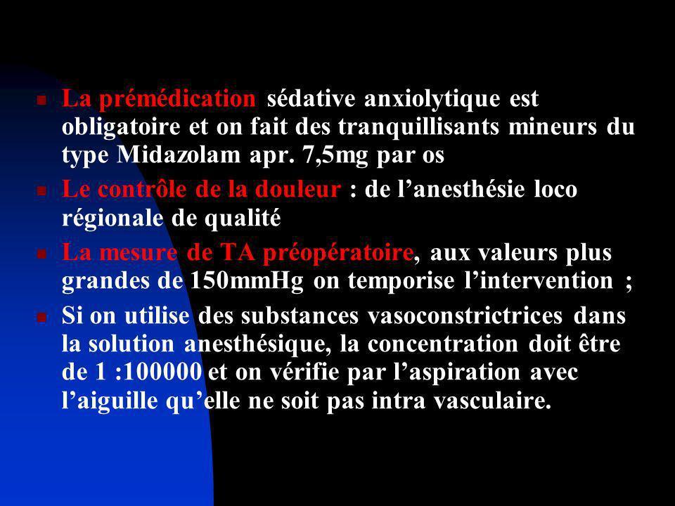 La prémédication sédative anxiolytique est obligatoire et on fait des tranquillisants mineurs du type Midazolam apr. 7,5mg par os