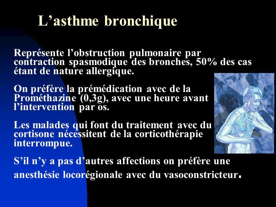 L'asthme bronchique Représente l'obstruction pulmonaire par contraction spasmodique des bronches, 50% des cas étant de nature allergique.