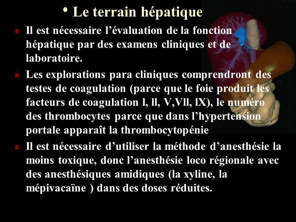 Le terrain hépatique Il est nécessaire l'évaluation de la fonction hépatique par des examens cliniques et de laboratoire.