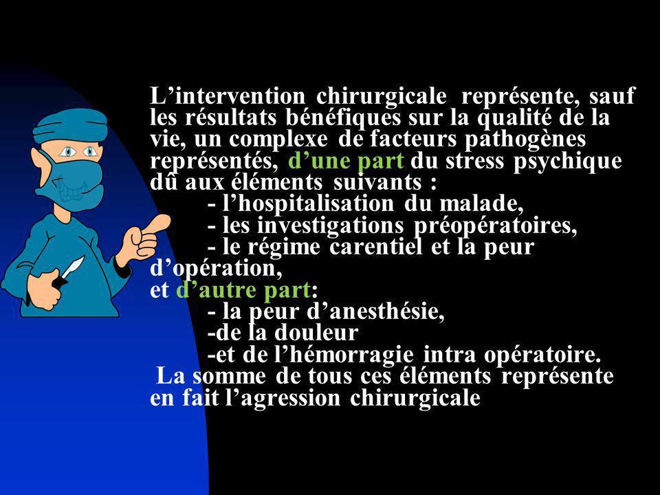 L'intervention chirurgicale représente, sauf les résultats bénéfiques sur la qualité de la vie, un complexe de facteurs pathogènes représentés, d'une part du stress psychique dû aux éléments suivants : - l'hospitalisation du malade, - les investigations préopératoires, - le régime carentiel et la peur d'opération, et d'autre part: - la peur d'anesthésie, -de la douleur -et de l'hémorragie intra opératoire.