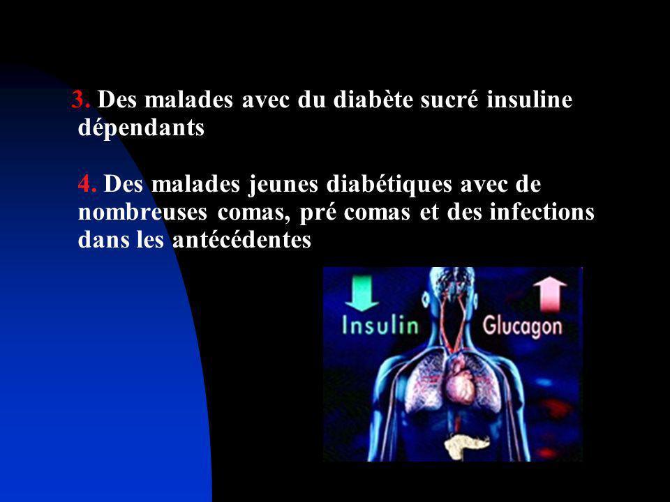 3. Des malades avec du diabète sucré insuline dépendants 4