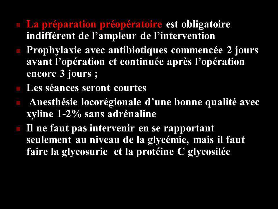 La préparation préopératoire est obligatoire indifférent de l'ampleur de l'intervention