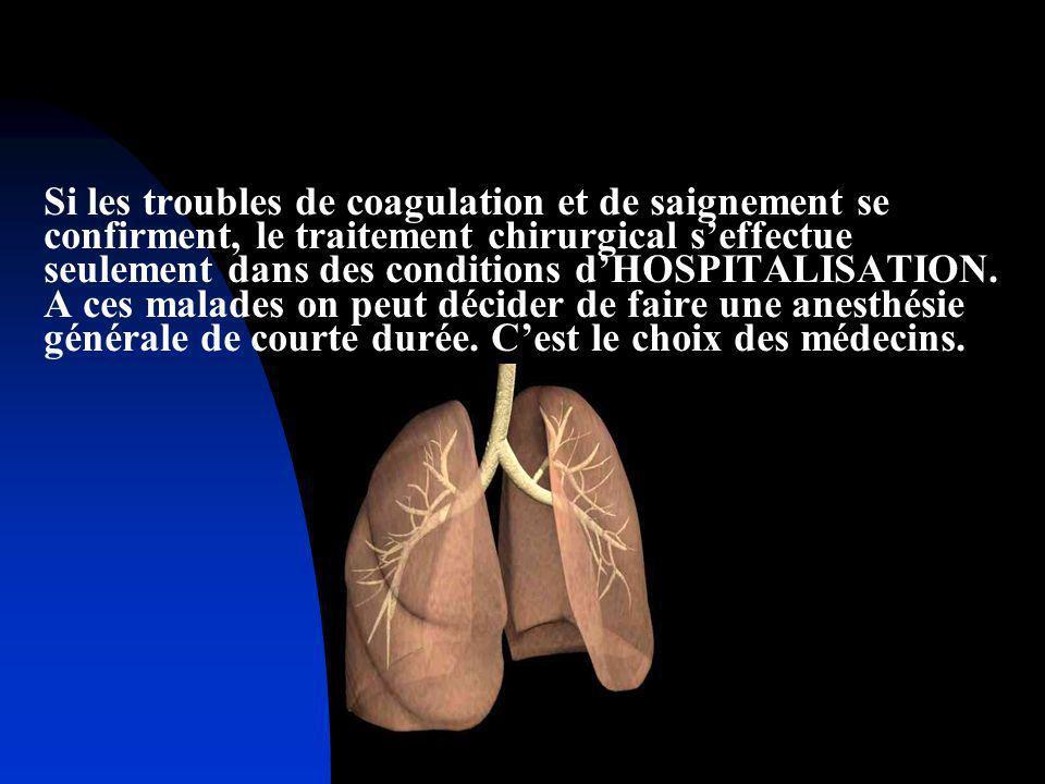Si les troubles de coagulation et de saignement se confirment, le traitement chirurgical s'effectue seulement dans des conditions d'HOSPITALISATION.