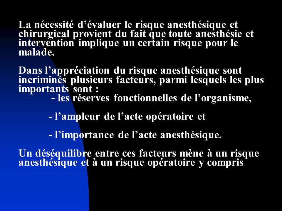 La nécessité d'évaluer le risque anesthésique et chirurgical provient du fait que toute anesthésie et intervention implique un certain risque pour le malade.