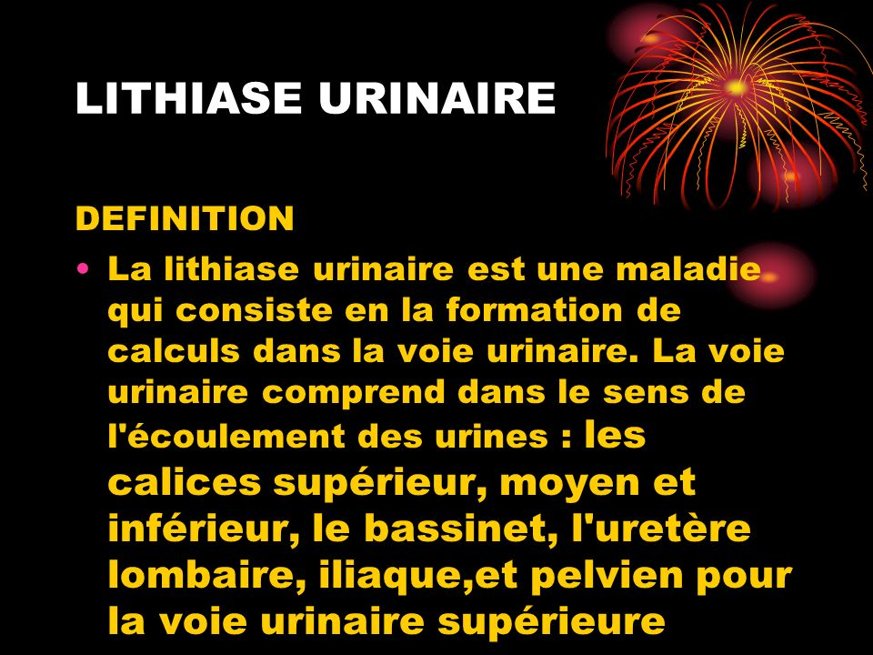 LITHIASE URINAIRE DEFINITION