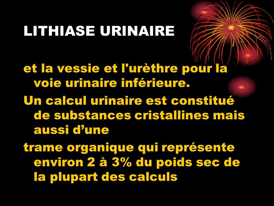 LITHIASE URINAIRE et la vessie et l urèthre pour la voie urinaire inférieure.