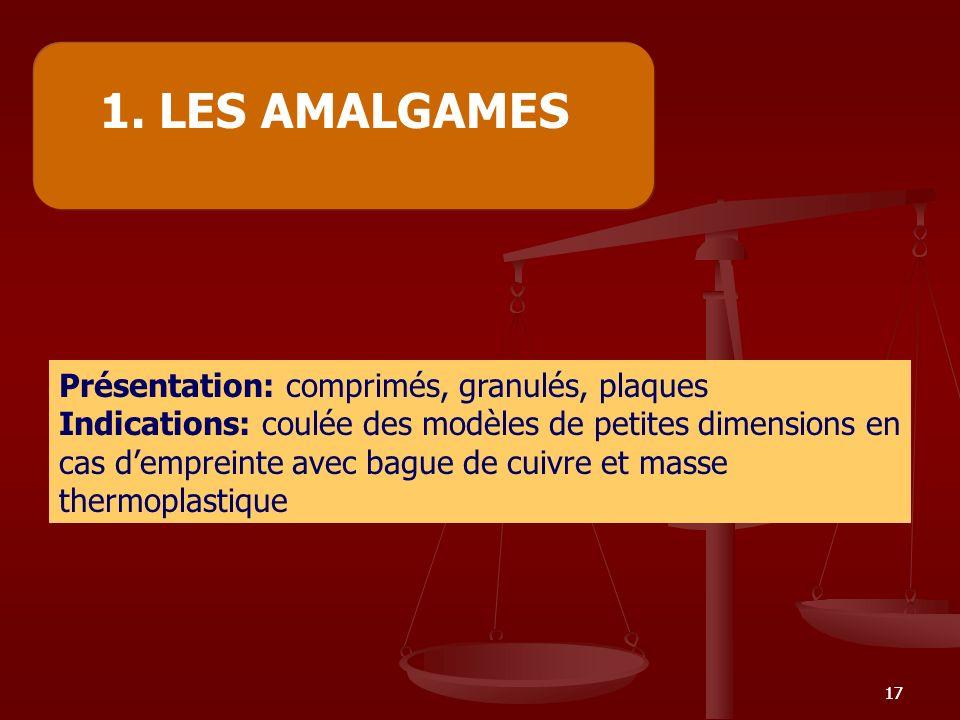 1. LES AMALGAMES