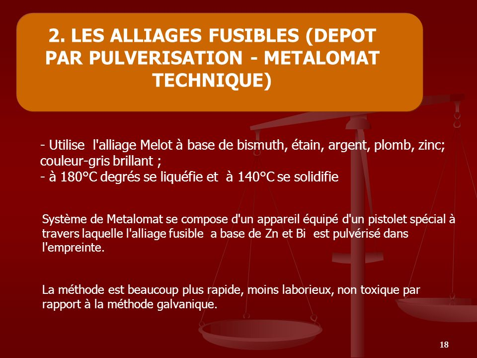 2. LES ALLIAGES FUSIBLES (DEPOT PAR PULVERISATION - METALOMAT TECHNIQUE)