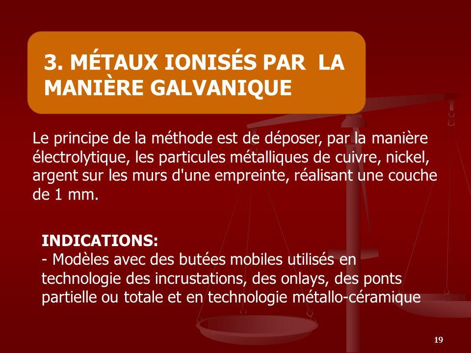 3. MÉTAUX IONISÉS PAR LA MANIÈRE GALVANIQUE