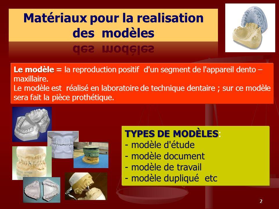 Matériaux pour la realisation des modèles