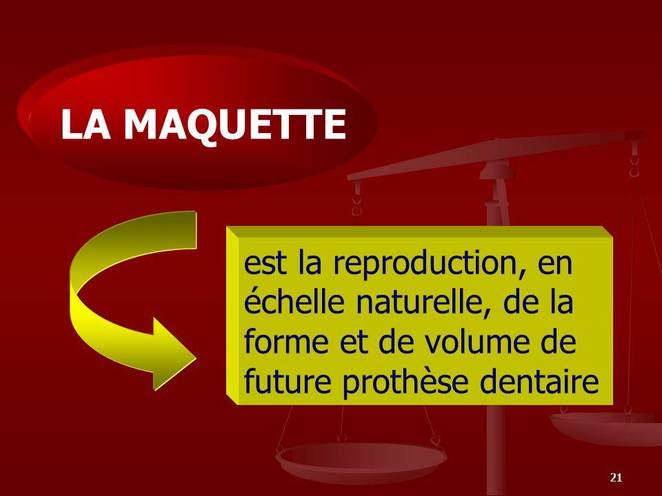LA MAQUETTE est la reproduction, en échelle naturelle, de la forme et de volume de future prothèse dentaire.