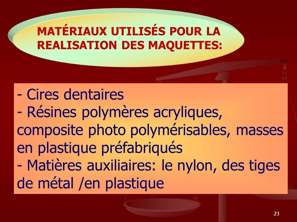 MATÉRIAUX UTILISÉS POUR LA REALISATION DES MAQUETTES: