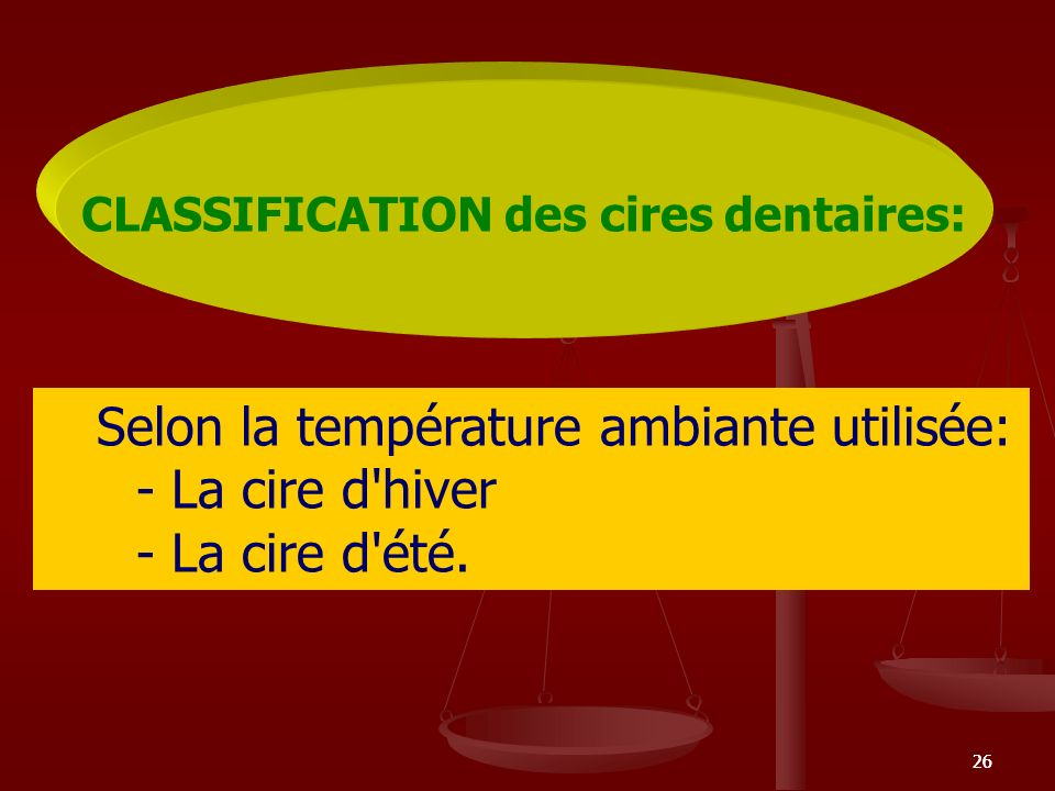 CLASSIFICATION des cires dentaires: