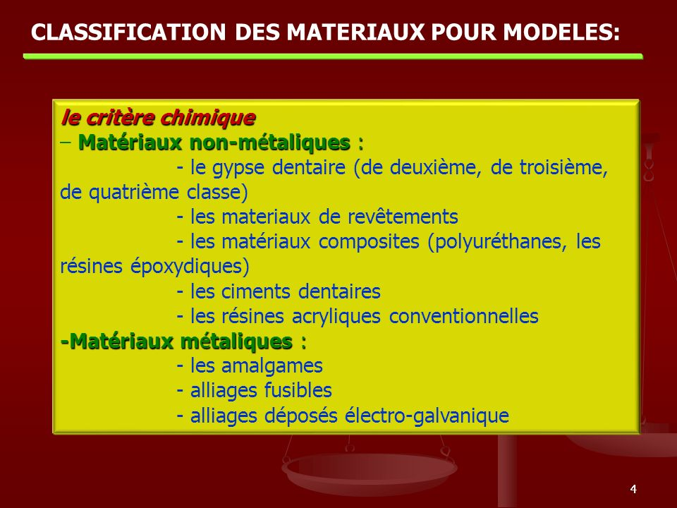 Classification DES MATERIAUX POUR MODELES: