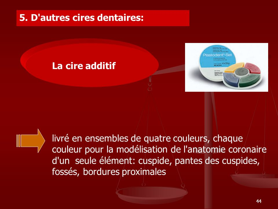 5. ALTE CERURI DENTARE 5. D autres cires dentaires: La cire additif