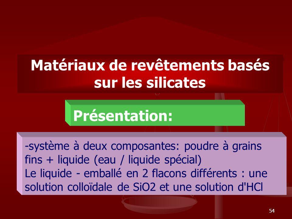 Matériaux de revêtements basés sur les silicates
