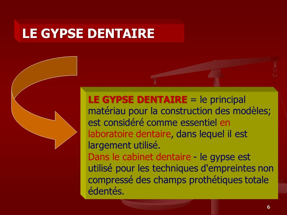 le gypse dentaire