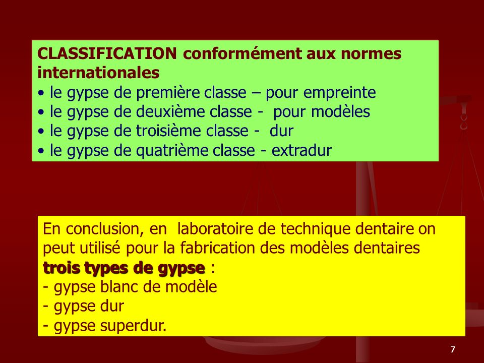 CLASSIFICATION conformément aux normes internationales