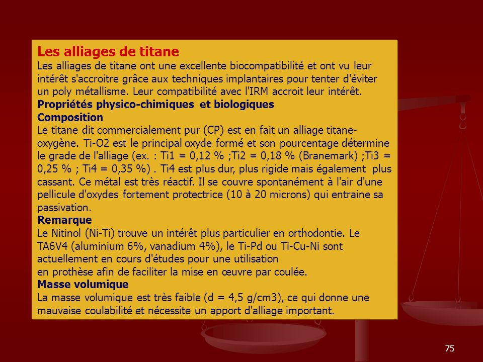 Les alliages de titane