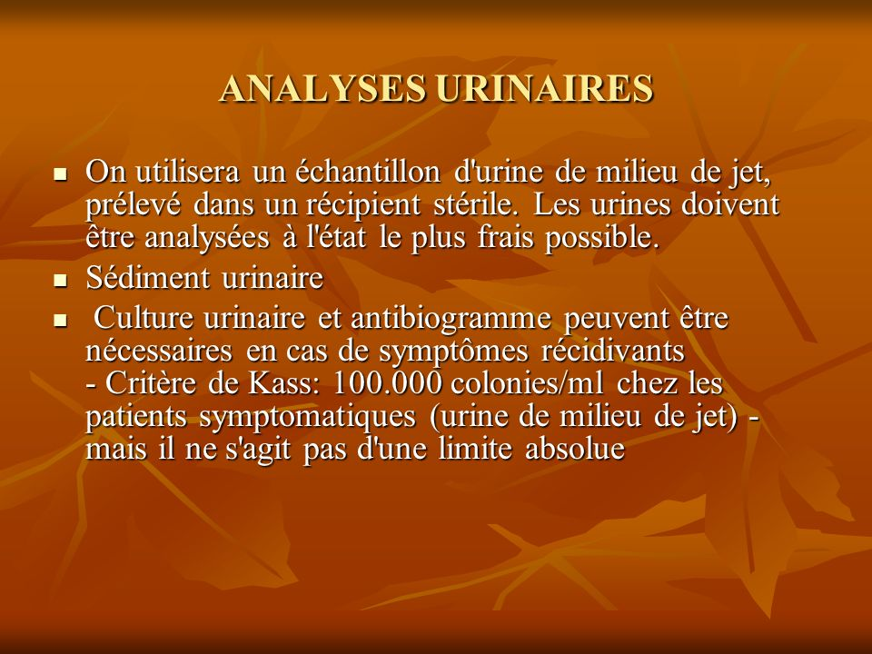 ANALYSES URINAIRES