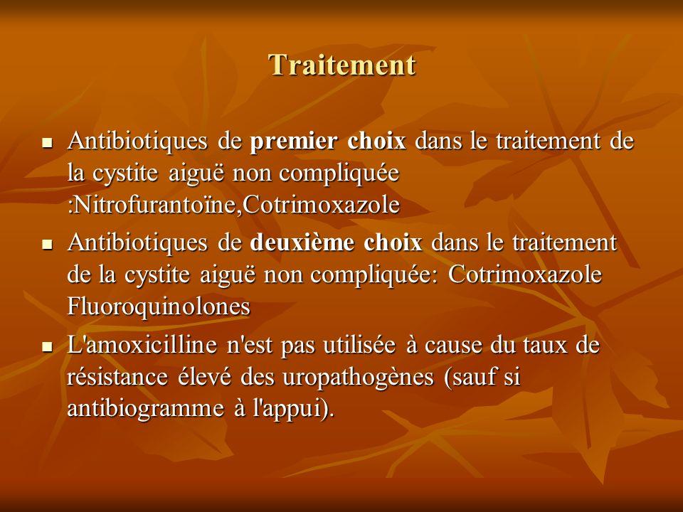 Traitement Antibiotiques de premier choix dans le traitement de la cystite aiguë non compliquée :Nitrofurantoïne,Cotrimoxazole.