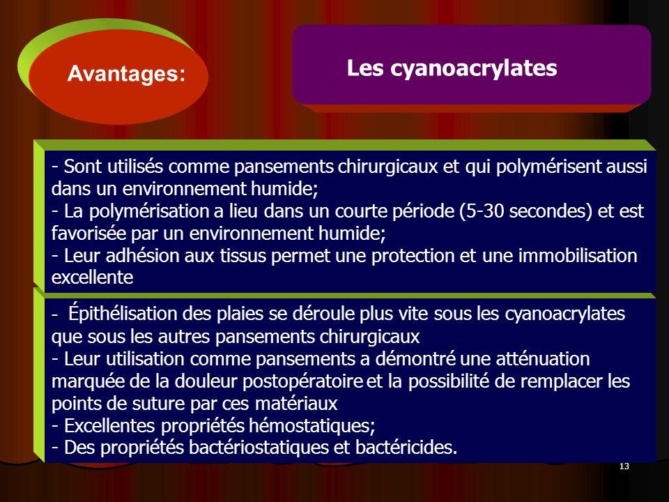 Les cyanoacrylates Avantages: