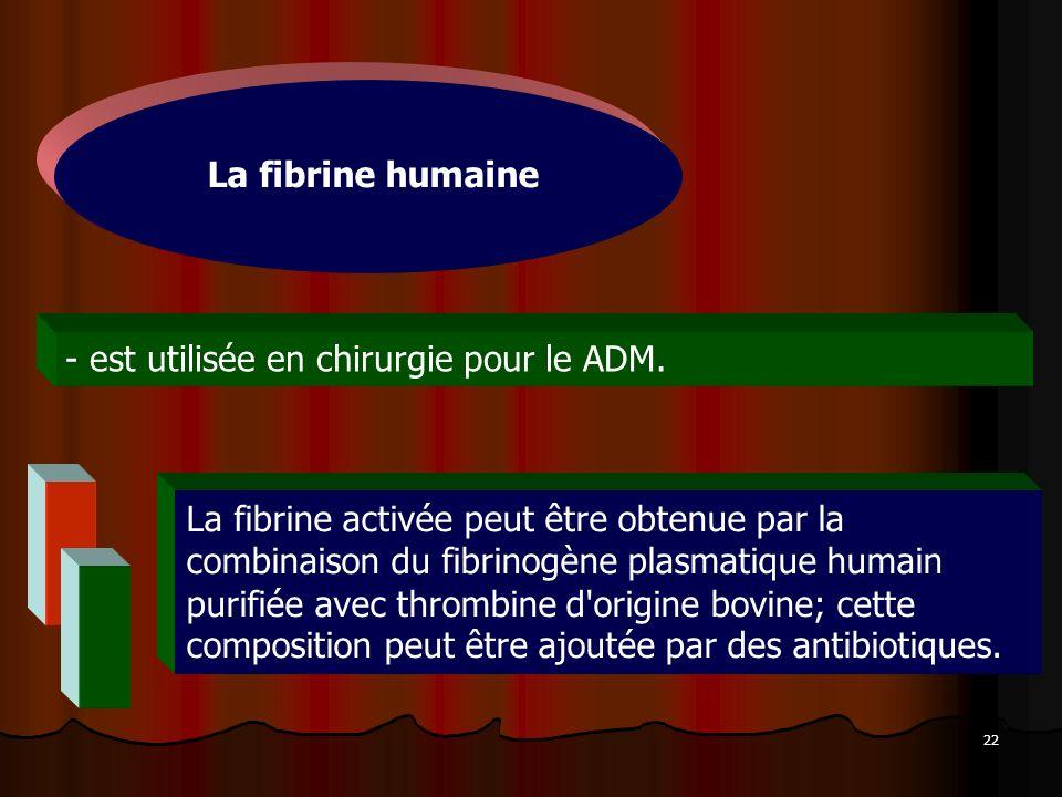 La fibrine humaine est utilisée en chirurgie pour le ADM.