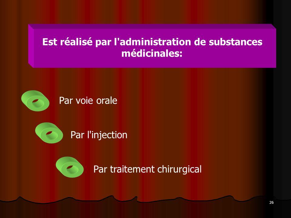Est réalisé par l administration de substances médicinales: