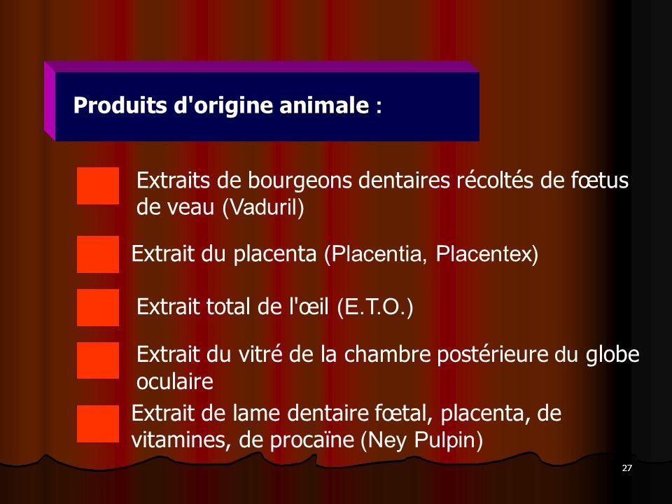 Produits d origine animale :