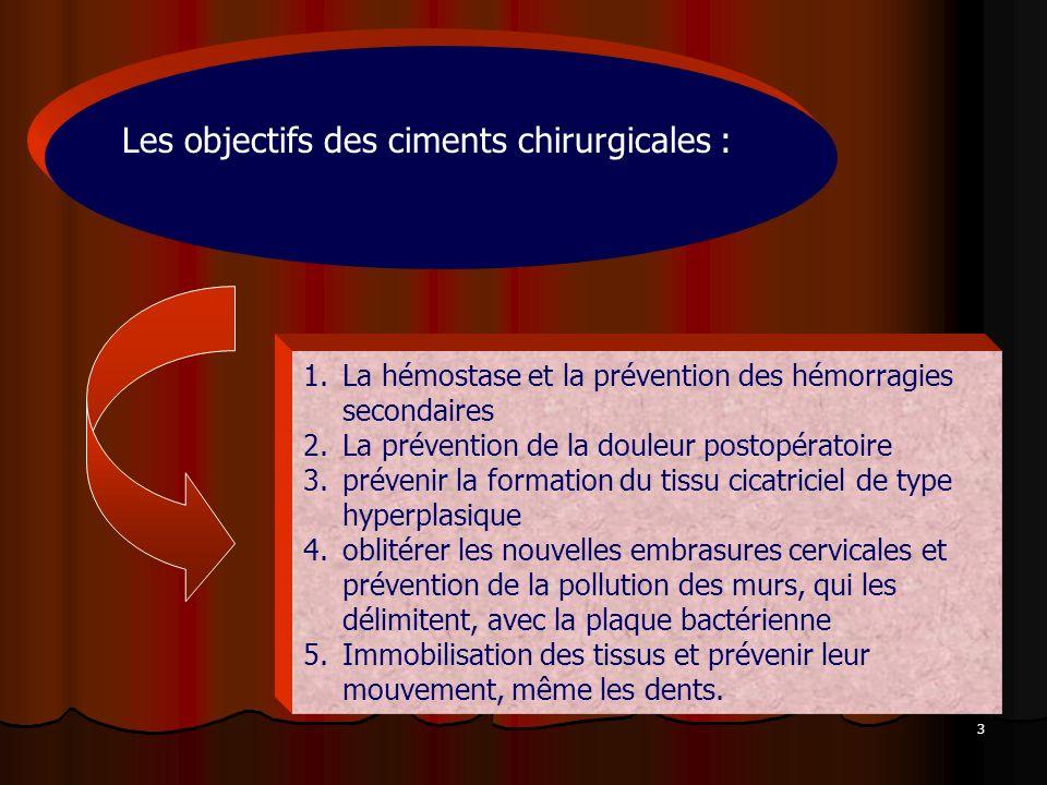 Les objectifs des ciments chirurgicales :