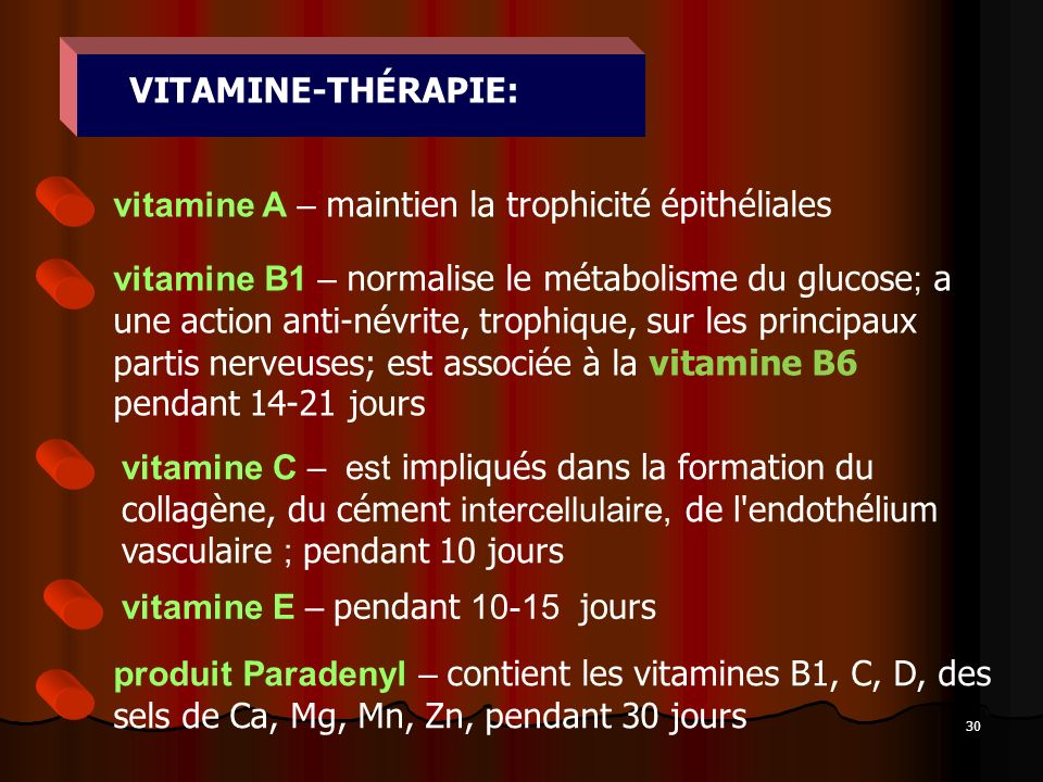 VITAMINE-THÉRAPIE: vitamine A – maintien la trophicité épithéliales.
