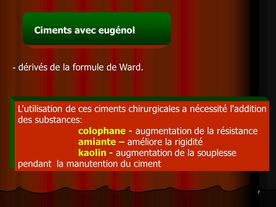 Ciments avec eugénol dérivés de la formule de Ward. L utilisation de ces ciments chirurgicales a nécessité l addition des substances:
