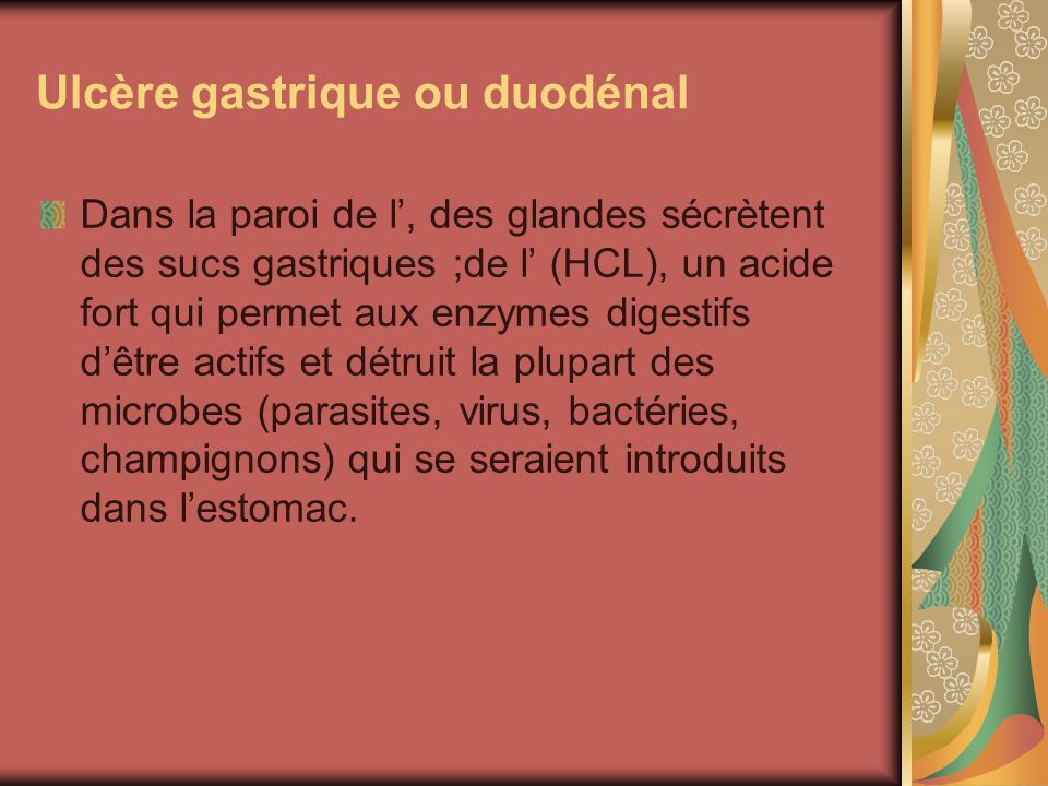 Ulcère gastrique ou duodénal
