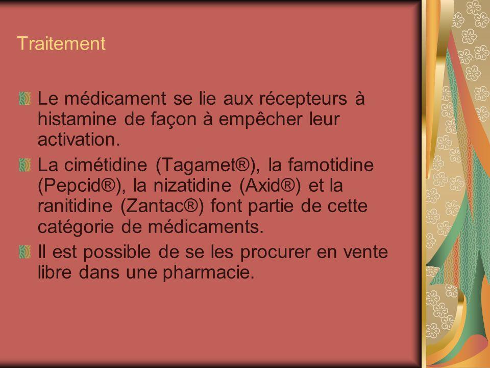 TraitementLe médicament se lie aux récepteurs à histamine de façon à empêcher leur activation.