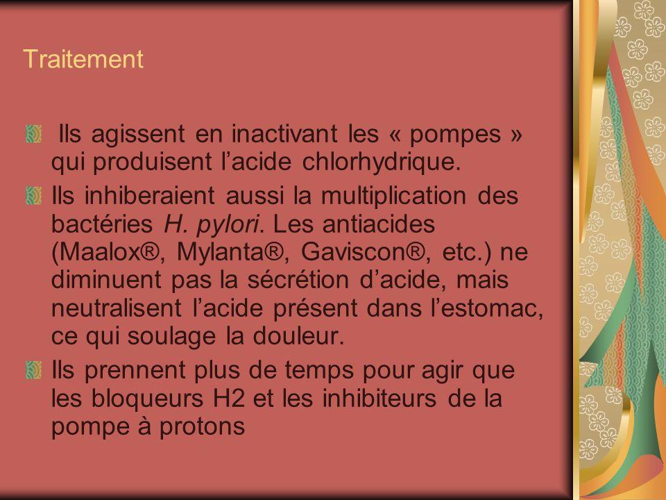 TraitementIls agissent en inactivant les « pompes » qui produisent l'acide chlorhydrique.