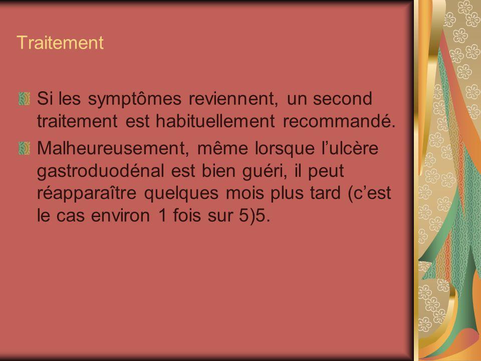 Traitement Si les symptômes reviennent, un second traitement est habituellement recommandé.